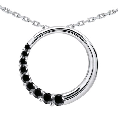 1/4 Carat Black Diamond Circle Journey Pendant