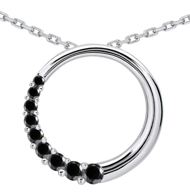 1/2 Carat Black Diamond Circle Journey Pendant