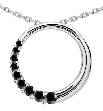 1 Carat Black Diamond Circle Journey Pendant