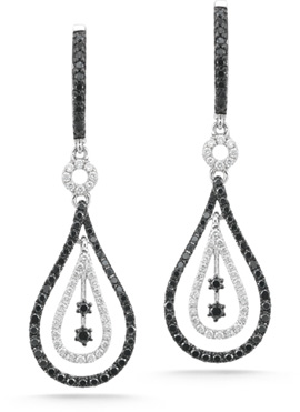 1.30 Carat Black and White Diamond Fashion Earrings