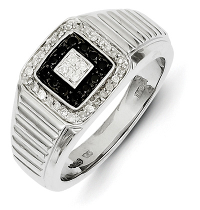 Black and White Diamond Ring for Men