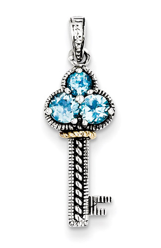 Blue Topaz Key Pendant, Sterling Silver