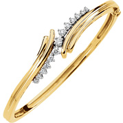 1/2 Carat Hinged Swirl Diamond Bangle Bracelet, 14K Gold