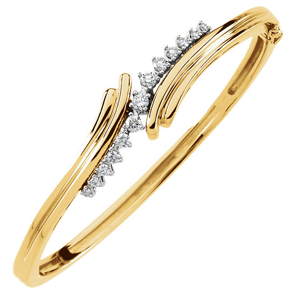 1/2 Carat Hinged Swirl Diamond Bangle Bracelet, 14K Gold