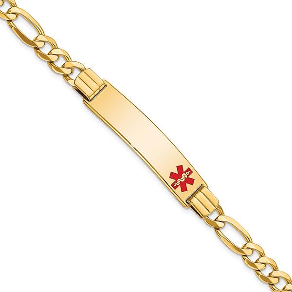 Men's 14K Gold 7mm Figaro Medical ID Bracelet