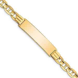 14k gold 7mm mariner link id bracelet, 8 inch