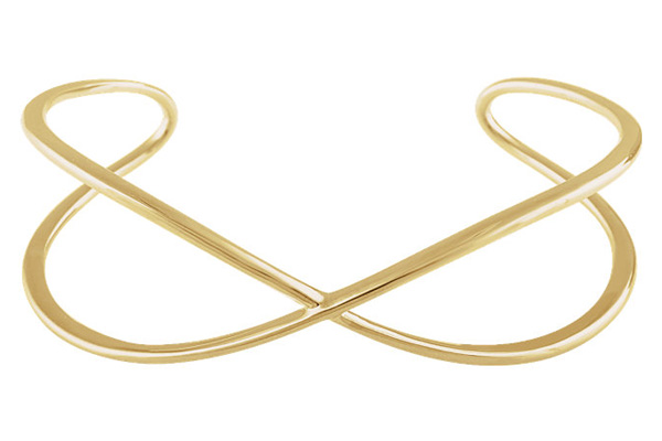 14K Gold Criss-Cross Designer Cuff Bangle Bracelet