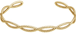 14K Gold Rope Cuff Bracelet for Women