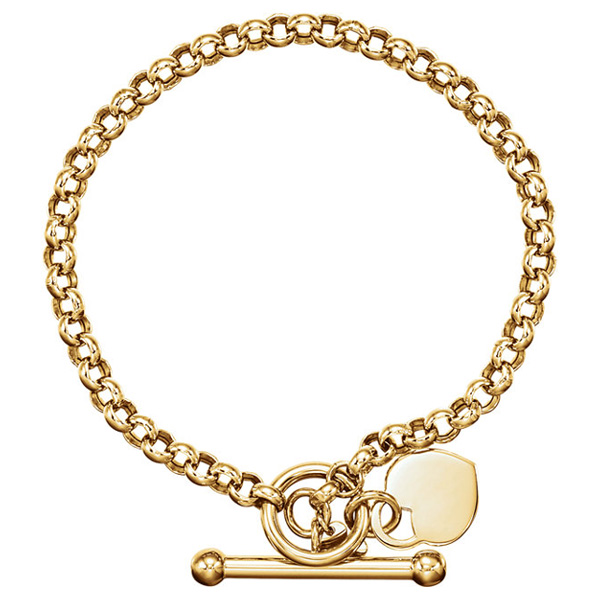 14k Gold Toggle Heart Charm Bracelet