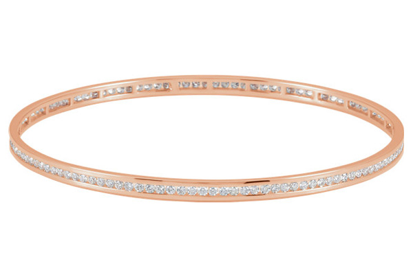 14K Rose Gold 2.28 Carat Channel-Set Diamond Bangle Bracelet