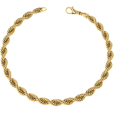 14K Solid Gold Handmade 7mm Rope Bracelet