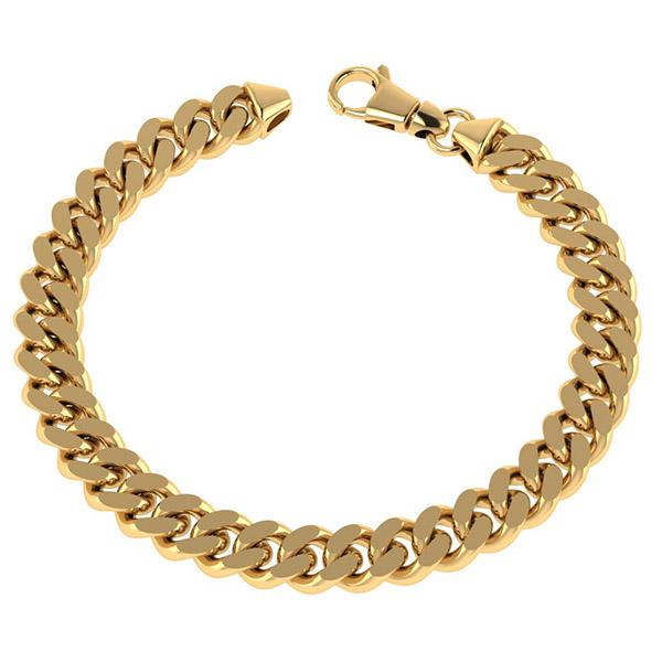 14K Solid Gold 8.1mm Handmade Heavy Curb Link Bracelet