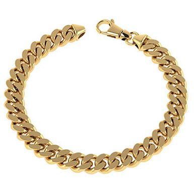 14K Solid Gold 9.5mm Men's Handmade Heavy Curb Link Bracelet