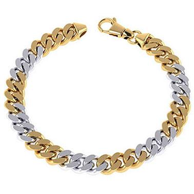 14K Solid Two-Tone Gold Men's Heavy 8.1mm Curb Link Bracelet