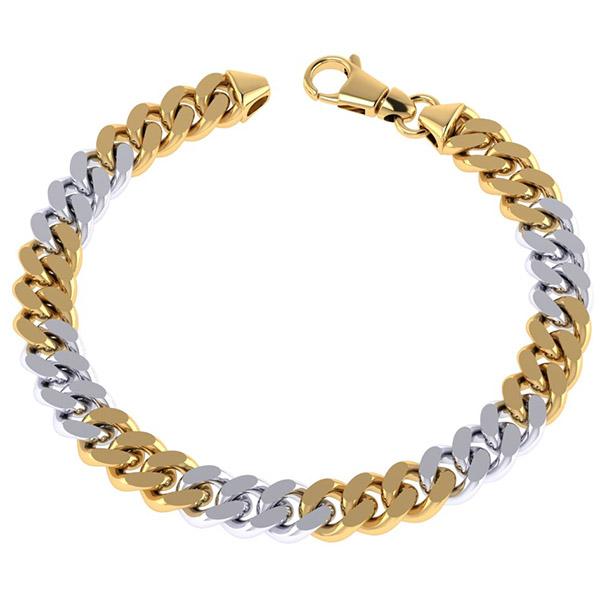 14K Solid Two-Tone Gold 9.5mm Handmade Curb Link Bracelet