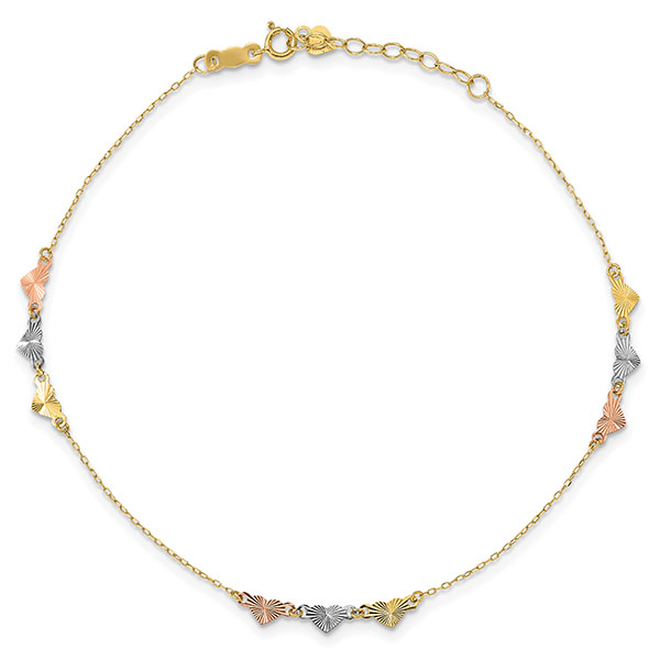 14K Tri-Color Gold Diamond-Cut Hearts Anklets, 9 Inches with 1