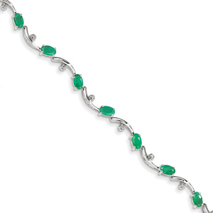 14K White Gold 3 Carat Oval Emerald Bracelet