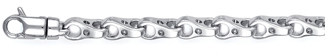 Bicycle Link Bracelet in 14K White Gold