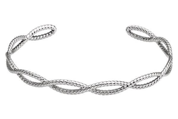 14K White Gold Rope Cuff Bracelet