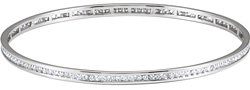 2 1/4 Carat Channel-Set Diamond Bangle Bracelet, 14K White Gold