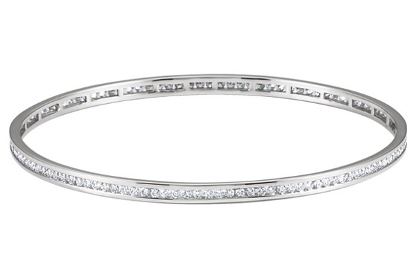 2 1 4 Carat Channel Set Diamond Bangle Bracelet 14K White Gold