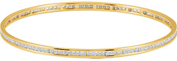 Channel-Set 2.28 Carat Diamond Bangle Bracelet, 14K Yellow Gold