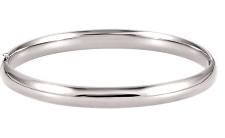 14K White Gold 6.5mm Hinged Bangle Bracelet