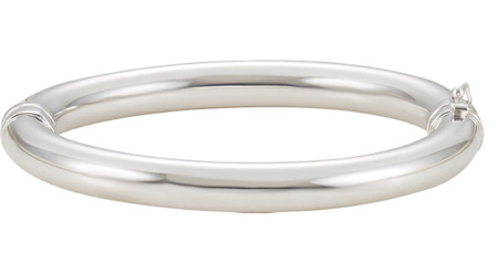 Sterling Silver Hinged Bangle Bracelet, 8mm