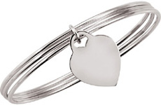 Heart Dangle Triple Bangle Bracelet in Sterling Silver