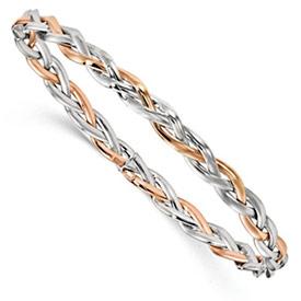 Rose Gold and White Braided Bangle Bracelet