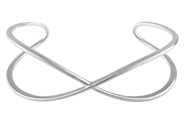 Criss-Cross Cuff Bangle, 14K White Gold