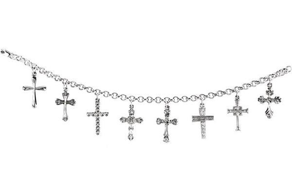 Cross Dangle Charm Bracelet, Sterling Silver
