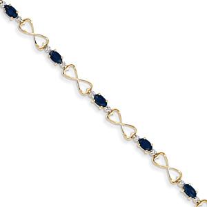 Crossed Hearts Oval Sapphire Bracelet, 14K Gold