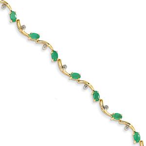 3 Carat Oval Emerald Bracelet, 14K Gold