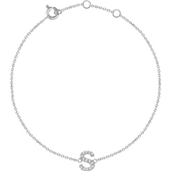Diamond Initial Charm Bracelet, 14K White Gold