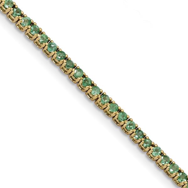 1.80 Carat Emerald Tennis Bracelet, 14K Gold