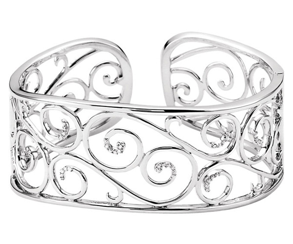 Filigree Scroll Diamond Cuff Bracelet, Sterling Silver