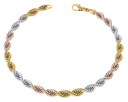 14K Solid Tri-Color Gold Handmade 7mm Rope Bracelet