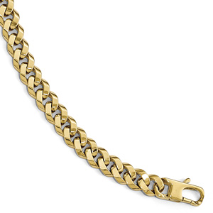 Handmade Italian Beveled Curb Bracelet for Men, 14K Gold