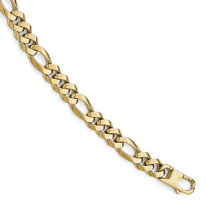 Italian Handmade Figaro Bracelet for Men, 14K Gold