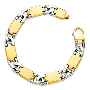 Men's 14K Two-Tone Gold Designer Link Bracelet