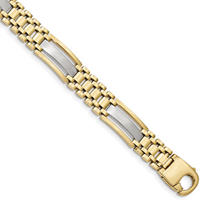 Men's Italian 14K Two-Tone Gold Satin and Polished Design Bracelet