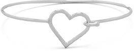 Open Heart Bangle Bracelet in Sterling Silver