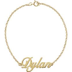 Personalized Script Name Bracelet, 14K Yellow Gold