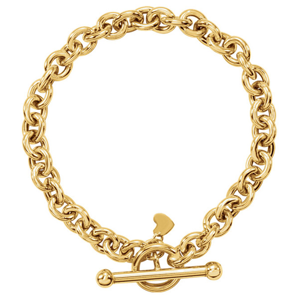 Rolo Toggle Bracelet with Small Heart Charm, 14K Gold