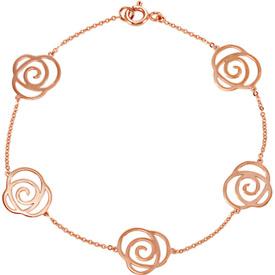 Roses 14K Gold Pink Rose Bracelet