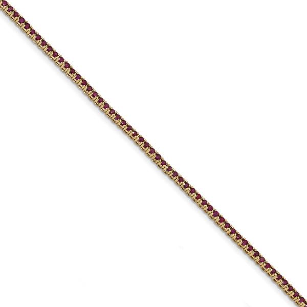2.80 Carat Ruby Tennis Bracelet, 14K Gold