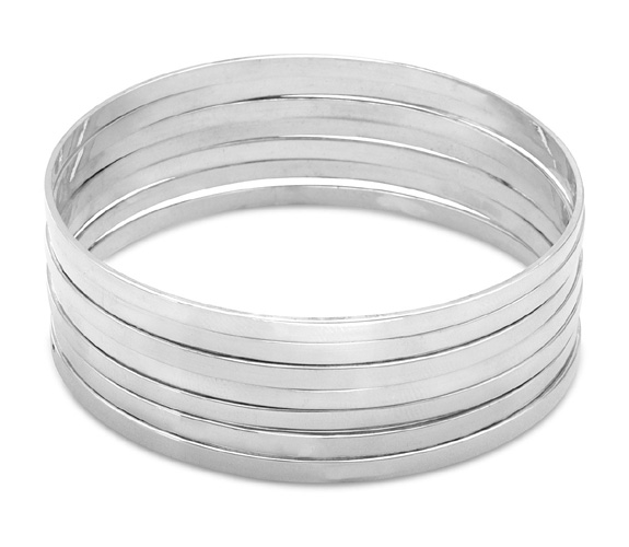 Set of 7 Flat Bangle Bracelets in Sterling Silver