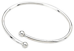 Silver Cuff Bangle Charm Bracelet with Threaded Balls