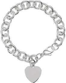 Sterling Silver Cable Bracelet with Heart Charm